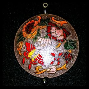 Vtg chinese cloisonne double side LARGE pendant